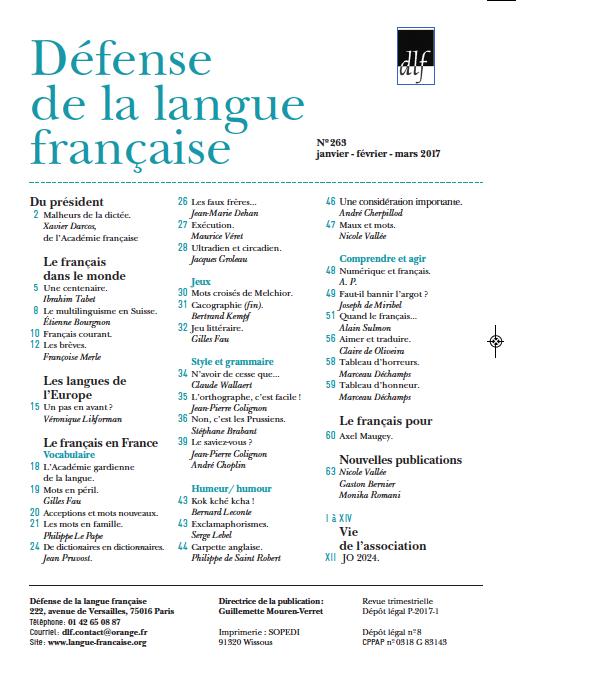 Revue DLF 263 sommaire